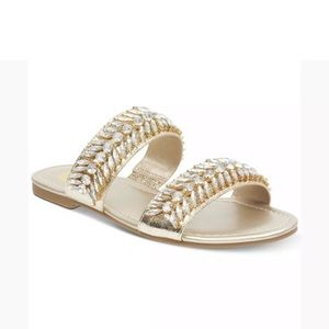 G by GUESS Luxeen Flat Sandals Slip On Gold 7.5